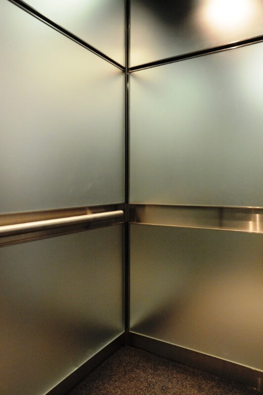 Stainless steel used as part of a metal panel project for and elevator cab
